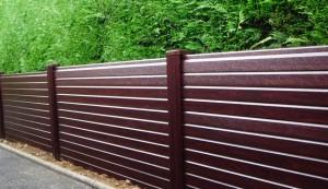 Liniar's uPVC woodgrain effect fencing in Rosewood