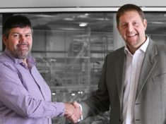 Roger Hartshorn (left) welcomes Martin Thurley to Liniar