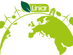 Green sustainable planet with Liniar logo