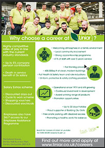 recruitment flyer for careers at Liniar